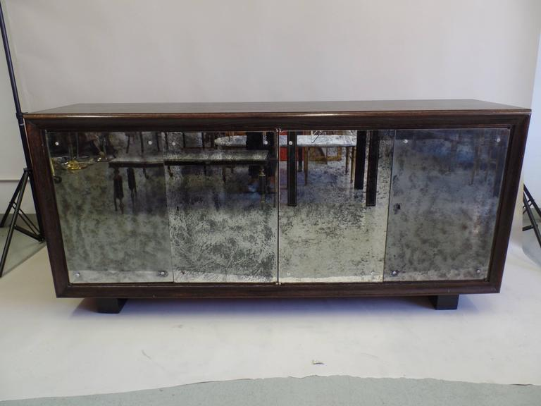French Mid-Century Modern Cerused Oak & Mirrored Sideboard, Eugene Printz In Good Condition For Sale In New York, NY