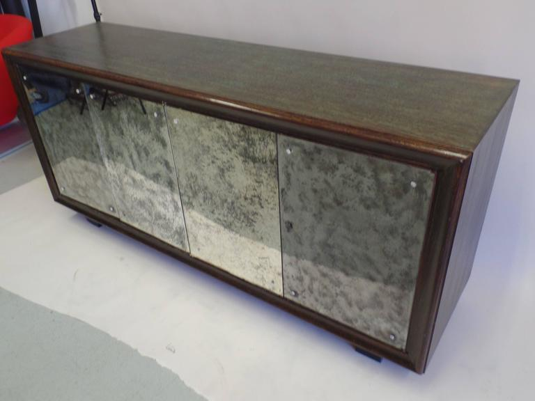 20th Century French Mid-Century Modern Cerused Oak & Mirrored Sideboard, Eugene Printz For Sale