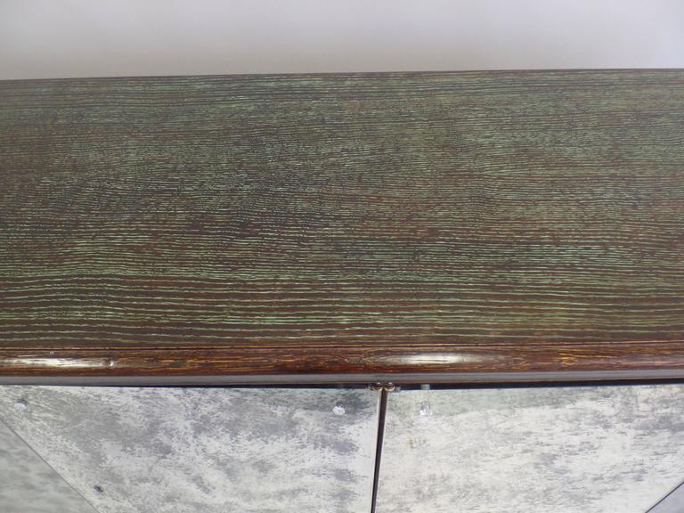 French Mid-Century Modern Cerused Oak & Mirrored Sideboard, Eugene Printz For Sale 4