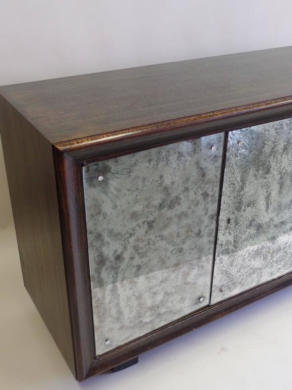 French Mid-Century Modern Cerused Oak & Mirrored Sideboard, Eugene Printz For Sale 2