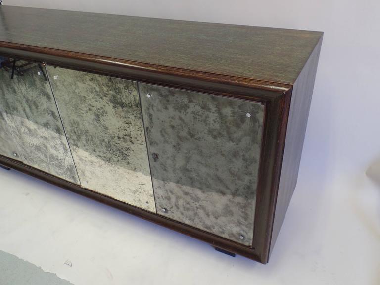 French Mid-Century Modern Cerused Oak & Mirrored Sideboard, Eugene Printz For Sale 1