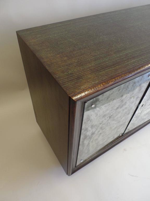 French Mid-Century Modern Cerused Oak & Mirrored Sideboard, Eugene Printz For Sale 3