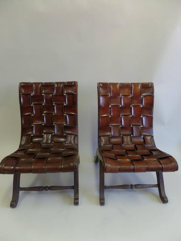 Pair Of Spanish Modern Neoclassical Leather Strap Chairs