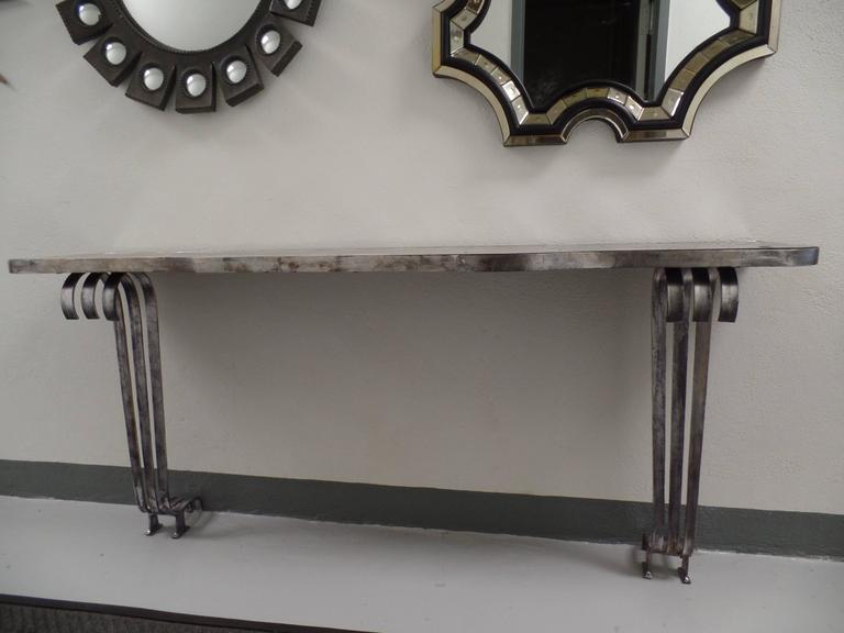 Large French Mid-Century Modern Silvered Iron Console, Attr. Raymond Subes, 1930 In Good Condition For Sale In New York, NY
