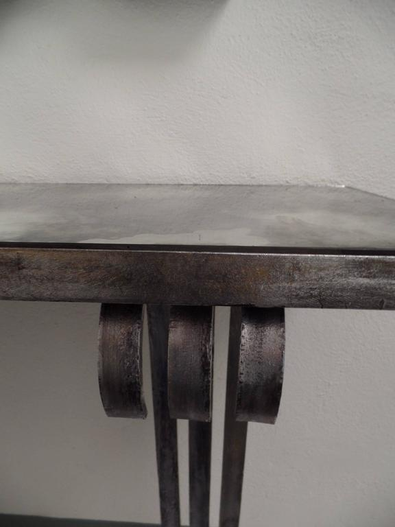 Large French Mid-Century Modern Silvered Iron Console, Attr. Raymond Subes, 1930 For Sale 2