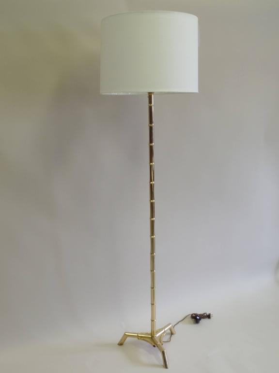 French Brass Faux Bamboo Floor Lamp