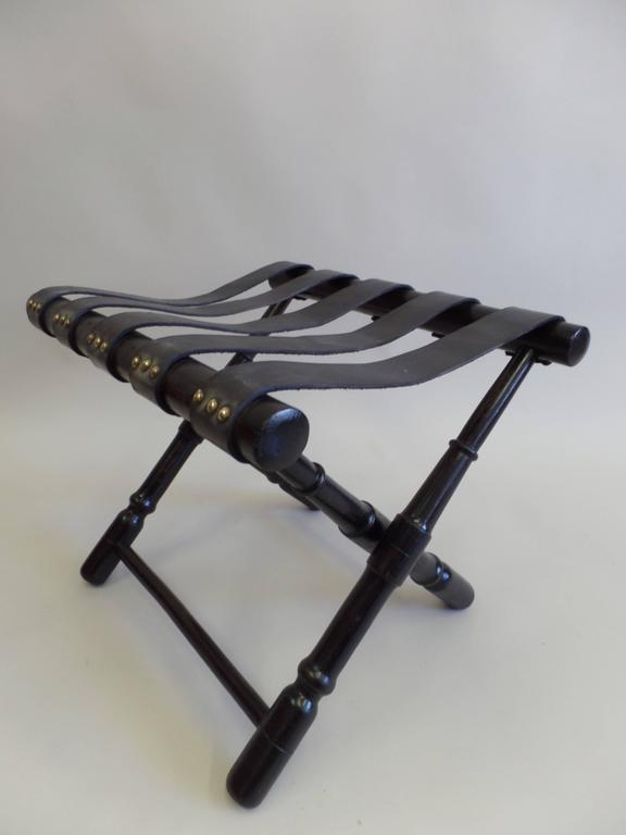 Pair French Mid-Century Ebonized Leather Strap Benches, Style Jean Michel Frank In Good Condition For Sale In New York, NY