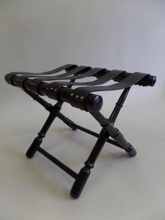 20th Century Pair French Mid-Century Ebonized Leather Strap Benches, Style Jean Michel Frank For Sale