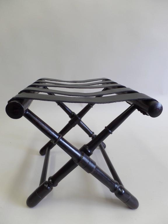 Mid-Century Modern Pair French Mid-Century Ebonized Leather Strap Benches, Style Jean Michel Frank For Sale