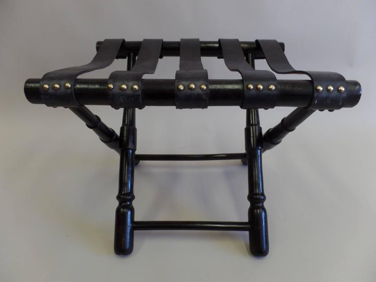 Pair French Mid-Century Ebonized Leather Strap Benches, Style Jean Michel Frank For Sale 1