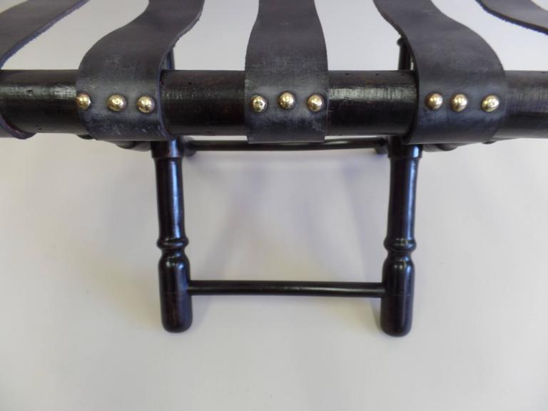 Pair French Mid-Century Ebonized Leather Strap Benches, Style Jean Michel Frank For Sale 2