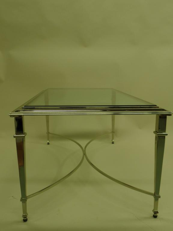 20th Century French Modern Neoclassical Nickel Coffee Table in the Style of Maison Ramsay For Sale