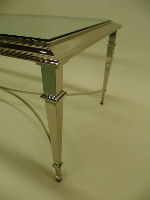 French Modern Neoclassical Nickel Coffee Table in the Style of Maison Ramsay For Sale 1
