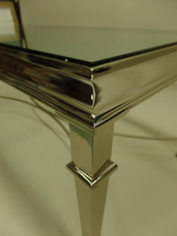 French Modern Neoclassical Nickel Coffee Table in the Style of Maison Ramsay For Sale 2