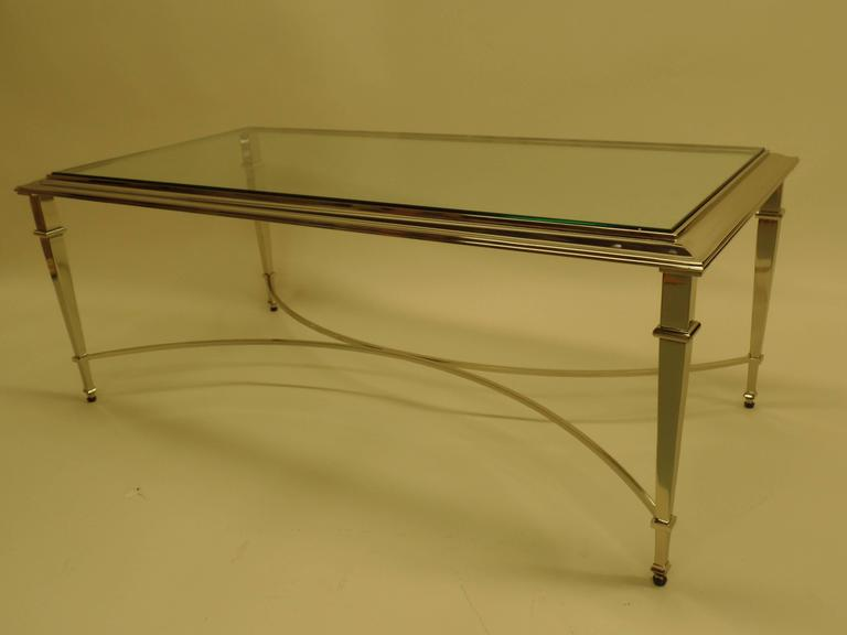 Mid-Century Modern French Modern Neoclassical Nickel Coffee Table in the Style of Maison Ramsay For Sale