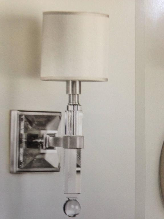 Stylish Modern Wall Lights : Four French Modern Neoclassical Style Wall Lights in Nickel and Crystal For Sale at 1stdibs