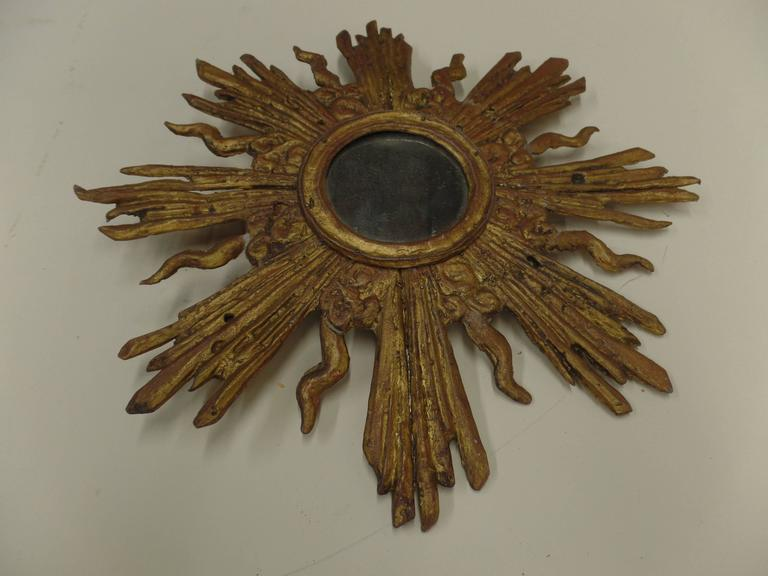 19th Century French Louis XIV Style Gilt Lead Sunburst Mirror For Sale