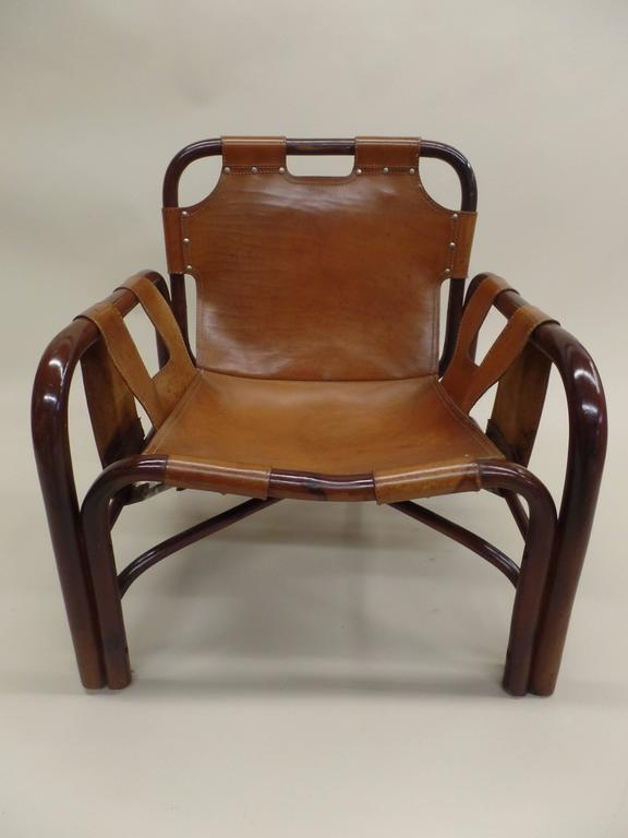 20th Century Pair of Italian Mid-Century Modern Bamboo and Leather Lounge Chairs by Bonacina For Sale