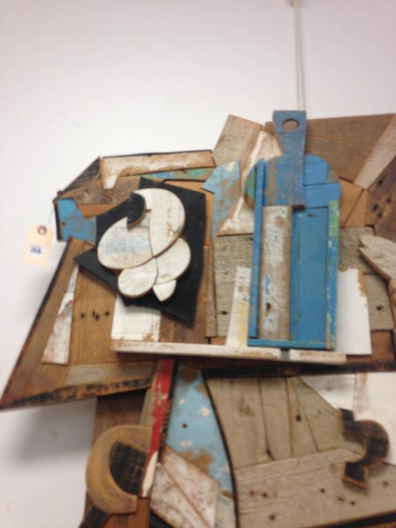 Mid-Century Modern Abstract Wood Collage by Felice Antonio Botta, Italy, 20th Century For Sale