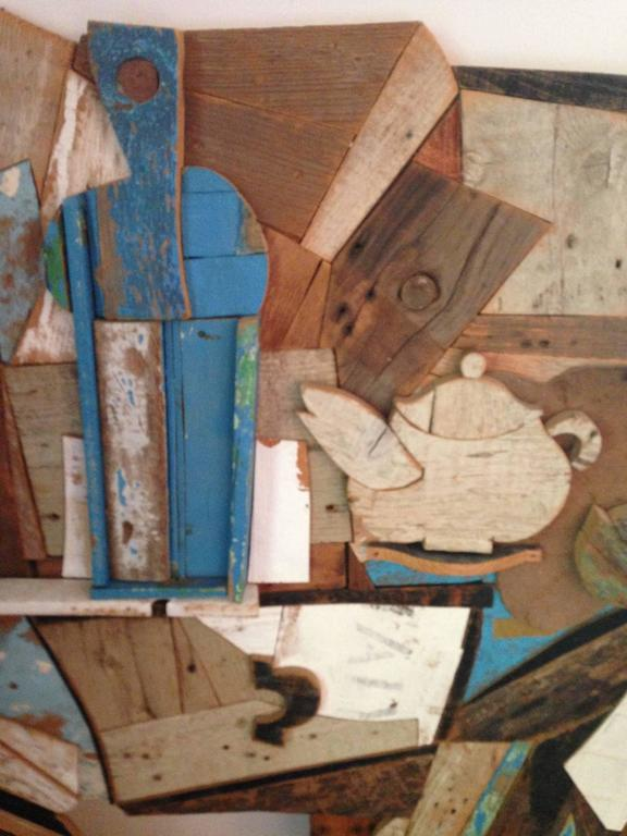 Italian Abstract Wood Collage by Felice Antonio Botta, Italy, 20th Century For Sale