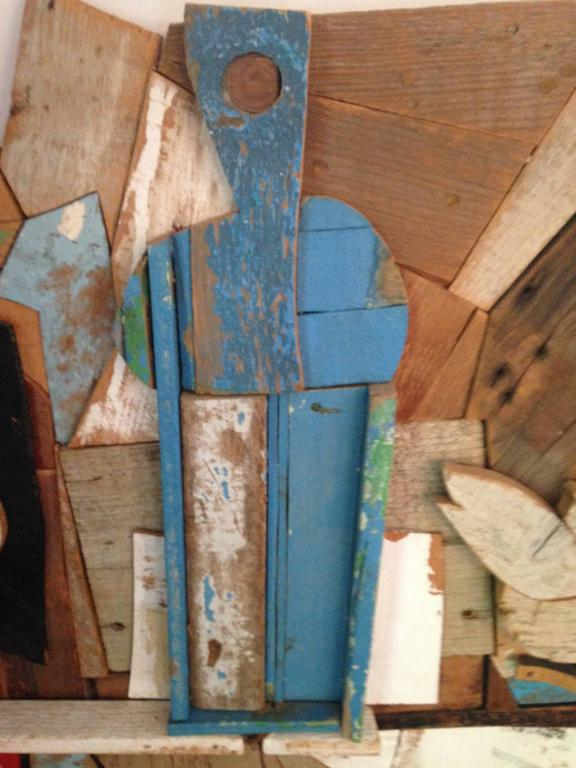 Abstract Wood Collage by Felice Antonio Botta, Italy, 20th Century In Good Condition For Sale In New York, NY