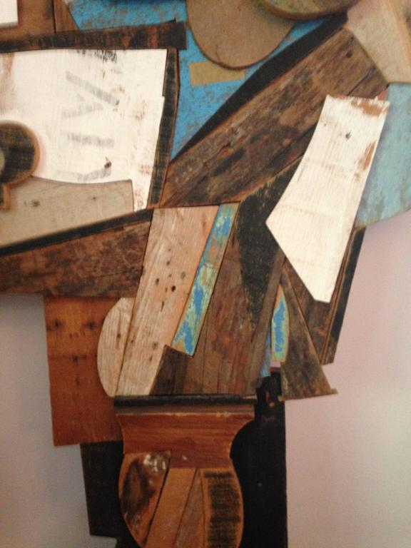 Reclaimed Wood Abstract Wood Collage by Felice Antonio Botta, Italy, 20th Century For Sale