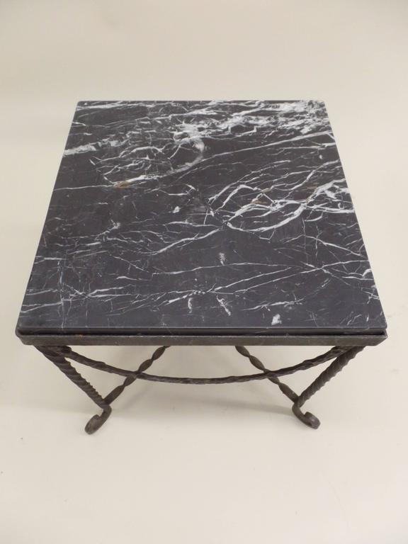 Pair of French Art Deco Hammered Iron Side Tables Attributed Edgar Brandt For Sale 1