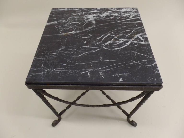 20th Century Pair of French Art Deco Hammered Iron Side Tables Attributed Edgar Brandt For Sale
