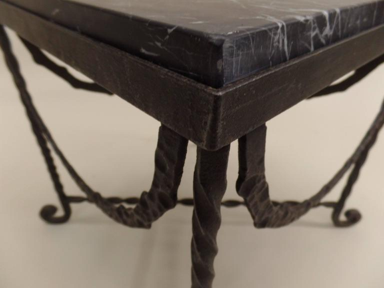Pair of French Art Deco Hammered Iron Side Tables Attributed Edgar Brandt For Sale 2