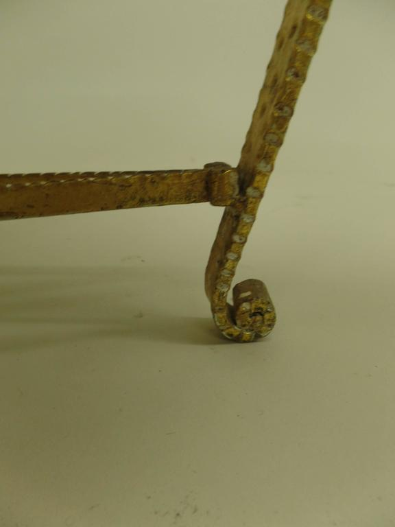 Pair of Italian Midcentury Hand-Hammered & Gilt Iron Benches by Pier Luigi Colli For Sale 2
