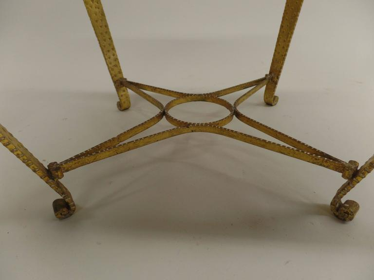 Upholstery Pair of Italian Midcentury Hand-Hammered & Gilt Iron Benches by Pier Luigi Colli For Sale