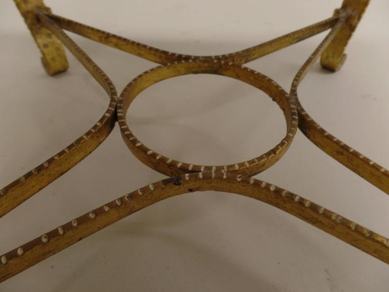 Pair of Italian Midcentury Hand-Hammered & Gilt Iron Benches by Pier Luigi Colli For Sale 1