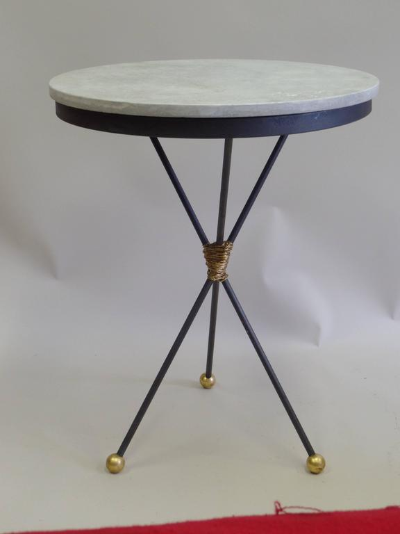 Pair Large French Mid-Century Modern Gilt Iron Side Tables, Style of Poillerat In Excellent Condition For Sale In New York, NY