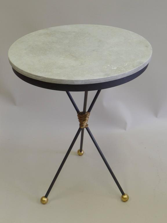 20th Century Pair Large French Mid-Century Modern Gilt Iron Side Tables, Style of Poillerat For Sale