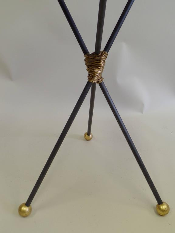 Pair Large French Mid-Century Modern Gilt Iron Side Tables, Style of Poillerat For Sale 2