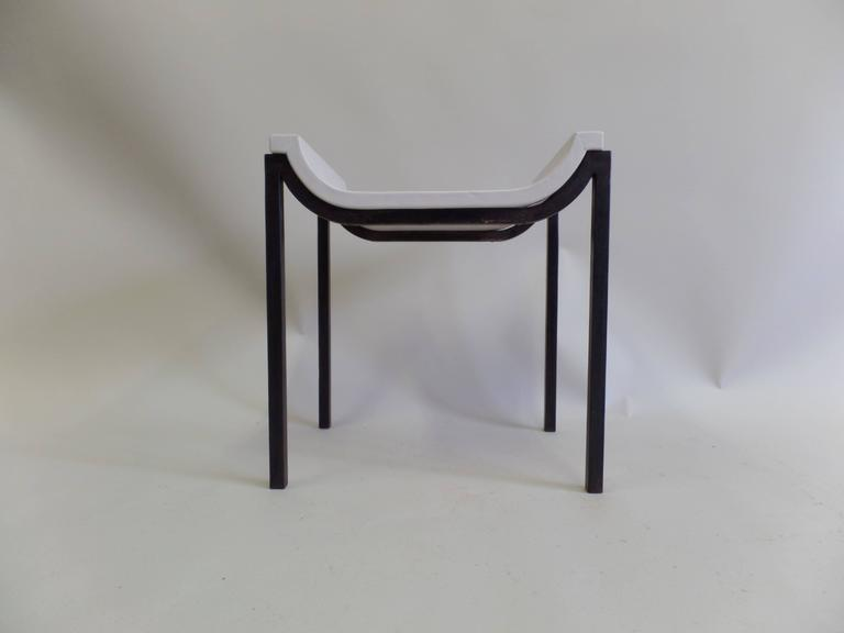 French Iron and Leather Bench or Vanity Stool Attributed to Marc Duplantier In Good Condition For Sale In New York, NY