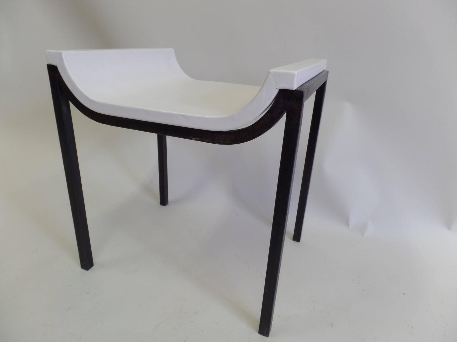 French Iron And Leather Bench Or Vanity Stool Attributed