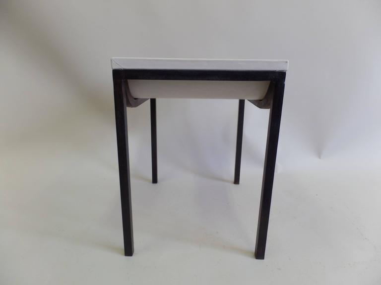 French Iron and Leather Bench or Vanity Stool Attributed to Marc Duplantier For Sale 2