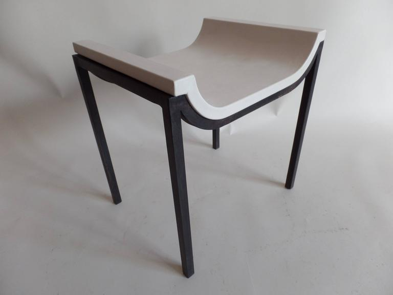 20th Century French Iron and Leather Bench or Vanity Stool Attributed to Marc Duplantier For Sale