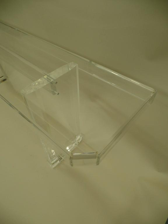 Two Large French Mid-Century Modern Lucite Consoles or Sofa Tables In Excellent Condition For Sale In New York, NY