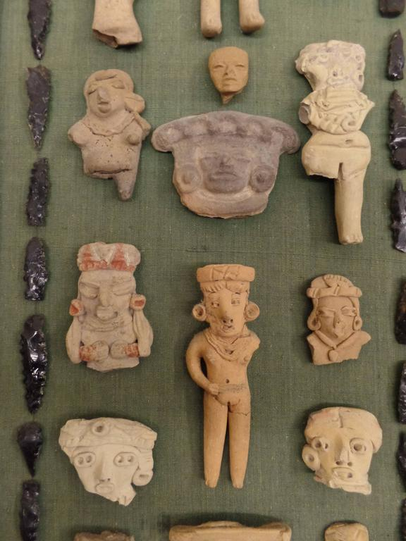 Pre-Columbian Framed Collection of Pre-Classic Period Sculptures / Heads For Sale