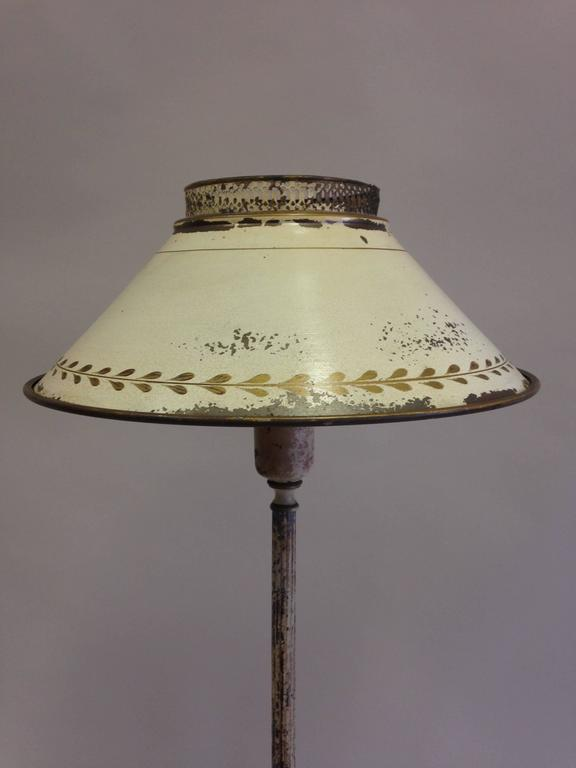 French Shabby Chic Floor Lamp in White Enameled Tole 'Tin ...