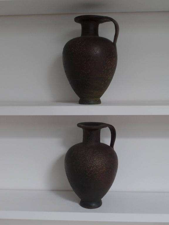 Pair of French Modern Neoclassical Vases/Amphora in Bronze Patina 7