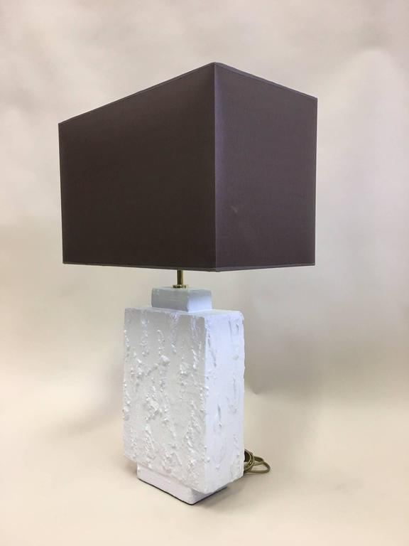 20th Century Pair French Mid-Century Modern Plaster & Gesso Table Lamps, Style of Giacometti For Sale