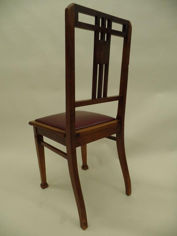 Four French Early Modern Dining Chairs with Inlaid Brass Grid Back In Good Condition For Sale In New York, NY