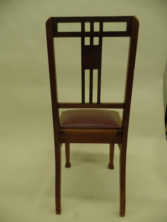 20th Century Four French Early Modern Dining Chairs with Inlaid Brass Grid Back For Sale