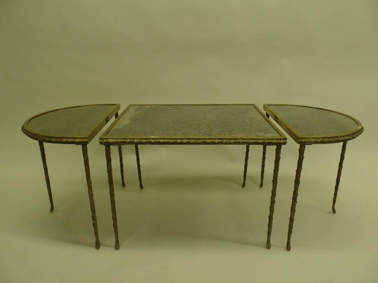 French Mid-Century 3 Part Gilt Bronze Faux Bamboo Coffee Table by Maison Baguès 4