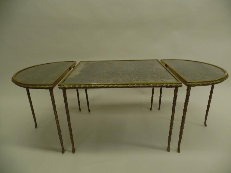 French Mid-Century 3 Part Gilt Bronze Faux Bamboo Coffee Table by Maison Baguès 3