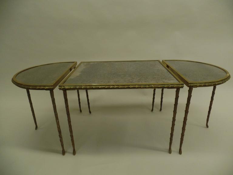 Three Part Bronze 'Palm Frond' Cocktail Table by Maison Baguès 3