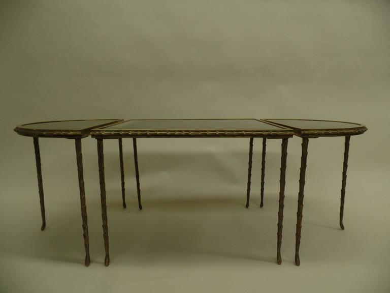 French Mid-Century 3 Part Gilt Bronze Faux Bamboo Coffee Table by Maison Baguès 2